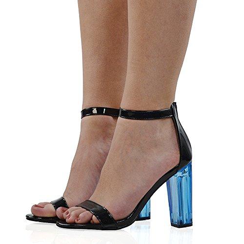 Perspex Sandalen Heels Clubbing ESSEX Riemchen kaum Party Block Prom Frauen Schwarz Schuhe Damen GLAM dort Patent Abend YqRwXOq