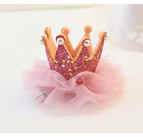 2pcs Glitter Pink Crown Clip Metal Princess Hair Clip Tiara Bow for Birthday Xmas (Party City Tiaras)