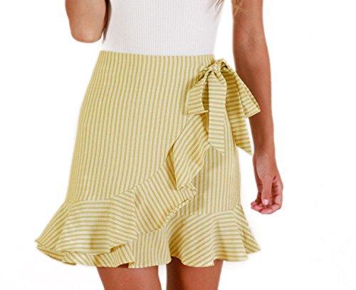 Fr?ulein Fox Femme Mini Jupes de Plage t Fashion Raye Jupe Chic C?t Feuille de Lotus Irregulier Jupe avec Bandage Jaune