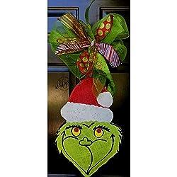 Hand Painted Christmas Grinch Burlap Door Hanger- Grinch Burlap Door Hanger-Christmas Door Hanger- Door Hanger