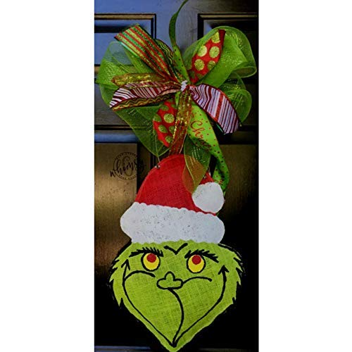 Hand Painted Christmas Grinch Burlap Door Hanger- Grinch Burlap Door Hanger-Christmas Door Hanger- Door -