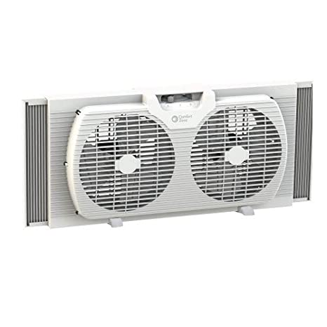 Comfort Zone CZ319WT 9-inch Twin Window Fan with Reversible Airflow  Control, Auto-Locking Expanders and 2-Speed Fan Switch