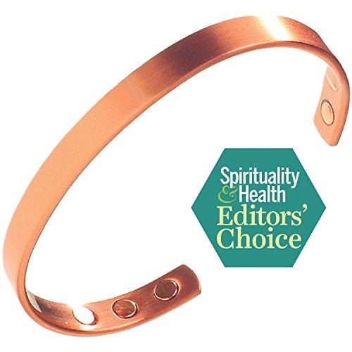 Copper Magnetic Bracelet for Arthritis Pain Relief & Carpal Tunnel - Stylish Pure Copper Bracelet for Men & Women - Stronger Magnet Strengths for 2018