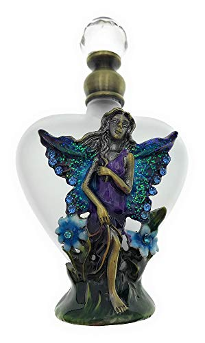 Welforth Fine Pewter Fairy with Heart Shaped Perfume Bottle, Trimmed with Crystals,4T