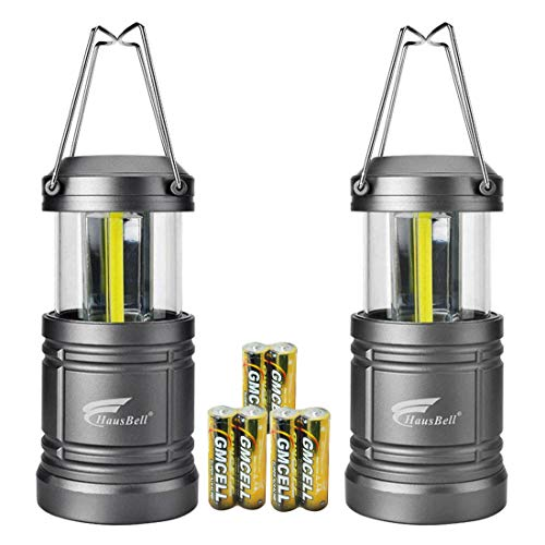 HAUSBELL Portable Lanterns with Magnetic Base, Cob LED Camping Lantern Collapsible Flashlights – Survival Kit for Emergency, Hurricane, Storm, Power Outage