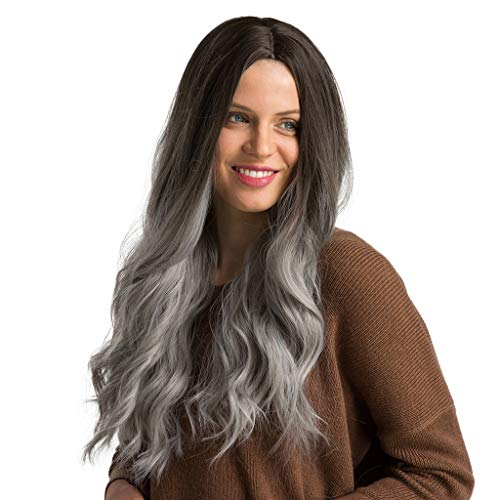 Iusun Wigs,24'' Women's Full Front Long Wave Roll Black and Gray Heat Resistant Synthetic Wigs Long Curly Full Hair Cosplay Costume Wigs Daily Party Anime Hair Wig High Temperature Fiber (Black)
