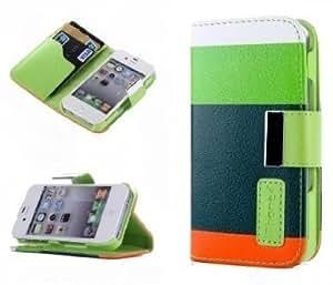SHHR-HX4S26N PU Leather Case Card Holder Flip Case Cover for Apple iPhone 4/4S-Green+Dark Green+Orange