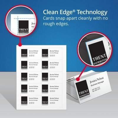 Avery Two-Side Printable Clean Edge Business Cards, Inkjet, 2 x 3 1/2, White, 400/Box by Avery (Image #4)