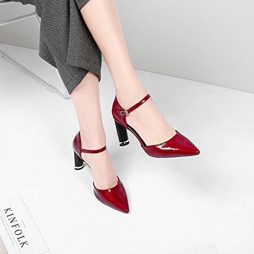 Red Cheville Pour Élégant Strap De Stiletto Rouge Chaussures Pointu Bureau Hope Mariage Toe Pompes Sandales Les noir a0qIxf