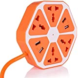 Teconica SB_3 Extension Board 4 USB Ports 1.3 M Cable Adapter Multi Switched Socket Hexagon Charging Station EU Plug 4 Sockets + 4 USB Ports Multi Plug Use for Home/Office (Random Colour)