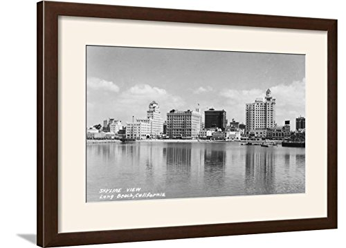 ArtEdge California City Skyline View Photograph-Long Beach, CA Art Print Framed, 29x21, Brown Frame-White Mat