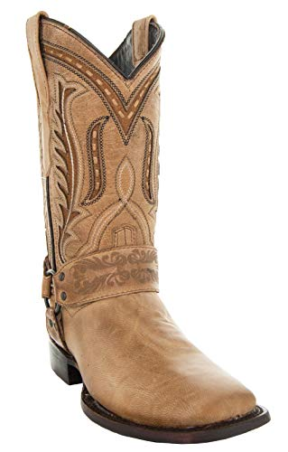 Soto Boots Women's Harness Cowgirl Boots M50038 (Tan,7.5)