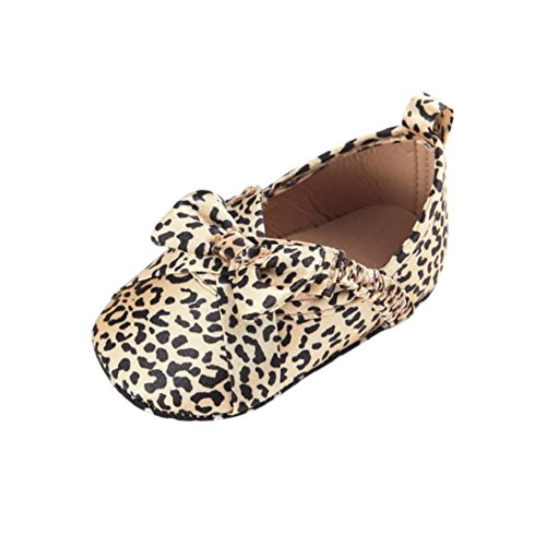 Fheaven Baby Girl Toddler Soft Sole Leopard Leather Shoes Infant Toddler Shoes (12~18Month, Khaki) (4 Leopard)