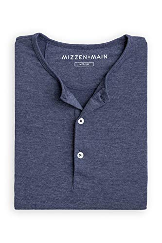 Mizzen + Main Dawson Men's Casual Henley Shirt, Medium, Heathered Navy Blue