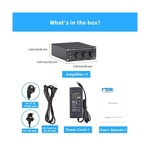 with Power Supply 2 Channel Stereo Audio Amplifier Receiver Mini Hi-Fi Class D Integrated Amp 2.0CH for Home Speakers 100W x 2 with Bass and Treble Control TPA3116