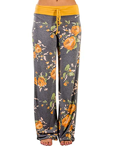 Buauty Women's Palazzo Pajama Pants Fall Comfy Casual Stretch Floral Print Drawstring Wide Leg Beach Lounge Pants Yellow ()
