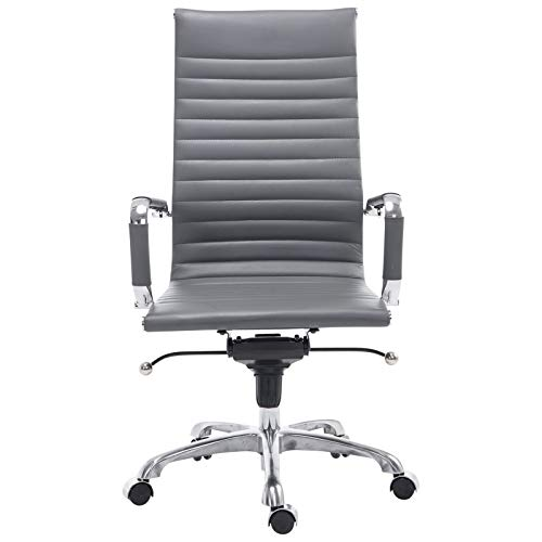 POLY & BARK Ribbed High Back Office Chair in Vegan Leather, Grey (Best Office Chair In The World)