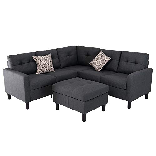 BELARDO home Modern 100% Polyester Fabric Symmetrical Sectional Sofa Couch with Storage Ottoman for Living Room, Dark Gray
