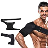 Shoulder Brace for Women and Men New Upgrade Rotator Cuff Brace Shoulder Cuff Adjustable Breathable Neoprene Ac Joint Support Brace Dislocated Shoulder Brace Women Right & Left (Shoulder Brace Black)