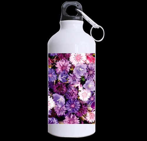 Flower Carpet from Cornflowers, Bluebells, Violets DIY Personalized Custom Sport Water Bottle Travel Cup 13.5 OZ (Twin Sides Print) Design Your Own Nice Gift Art Prints Twin ()