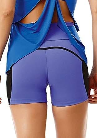 Sexy Workout Shorts, Brazilian Yoga Gym Shorts, 5614 Purple (Medium)