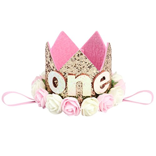 Baby Princess Tiara Crown, Iuhan Baby Girls/Kids First Birthday Hat Sparkle Gold Flower Style with Artificial Rose Flower (Gold Pink One)