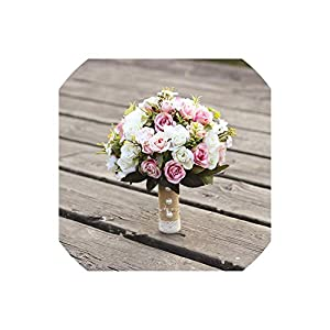 meet-you Wedding Bouquet Handmade Artificial Flower Rose buque Casamento Bridal Bouquet for Wedding Decoration Ramos 99
