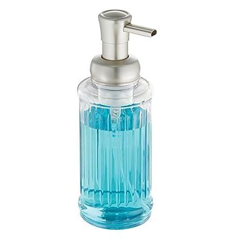 mDesign Dispensador de jabón en espuma rellenable – Dosificador de jabón de plástico con válvula y 396 ml de capacidad – Ideal para la cocina o como ...