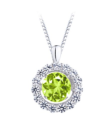 SERAFINA ❤ Women's Peridot and White Sapphire Pendant Necklace | 925 Sterling Silver on an 18