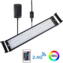 Xcellent Global LED Aquarium Fish Tank Light with Extendable Brackets 4 Modes 16 Color Remote Controlled Dimmable RGBW LED Light 19-28 inch M-LD164S