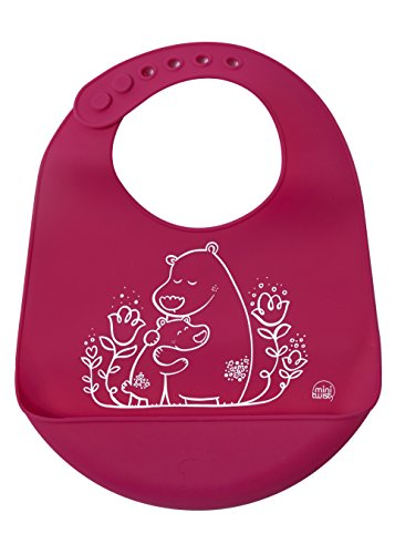 (modern-twist Bears Waterproof Silicone Baby Bucket Bib with Adjustable Strap, Plastic Free, Wipe Clean and Dishwasher Safe, Pink)