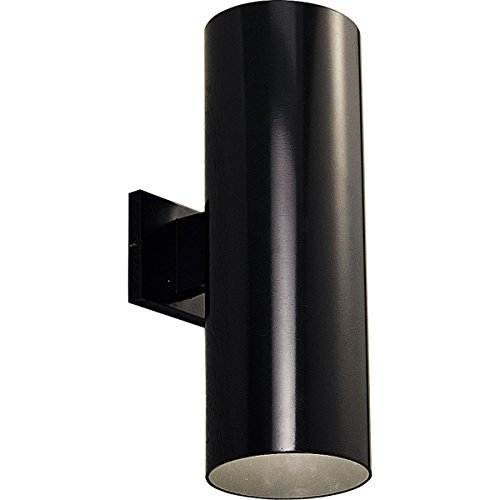 (Progress Lighting P5642-31 6-Inch Up/Down Cylinder with Heavy Duty Aluminum Construction and Die Cast Wall Bracket, Black)