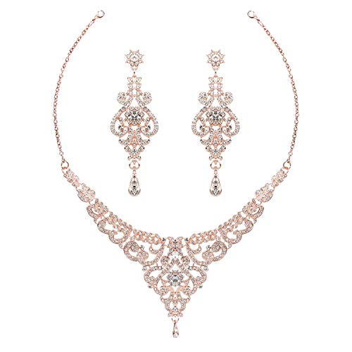 HapiBuy Crystal Rose Gold Wedding Jewelry Set Necklace and Earring Set for Women and Brides