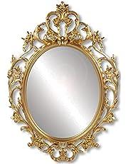 Barok spiegel wit, wandspiegel antiek ovaal, vintage wanddecoratie wit 62 x 42 cm, wandspiegel, decoratieve spiegel met frame om op te hangen, spiegel retro design voor woonkamer, hal, badkamer ...