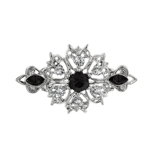 1928 Jewelry Silver-Tone Filigree Crystal Brooch with Black Stone Accents