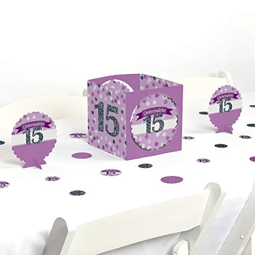 Big Dot of Happiness Quinceanera Purple - Sweet 15 - Birthday Party Centerpiece & Table Decoration -