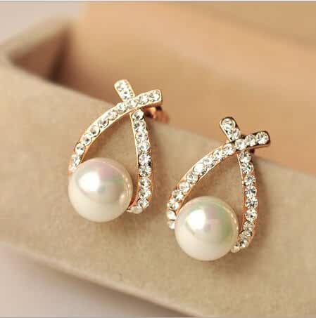 Chokushop Fish Pearl Earrings Elegant Fashion Cute Rhinestone Cross Alloy Earring High Quality Jewelry For Women New PD28