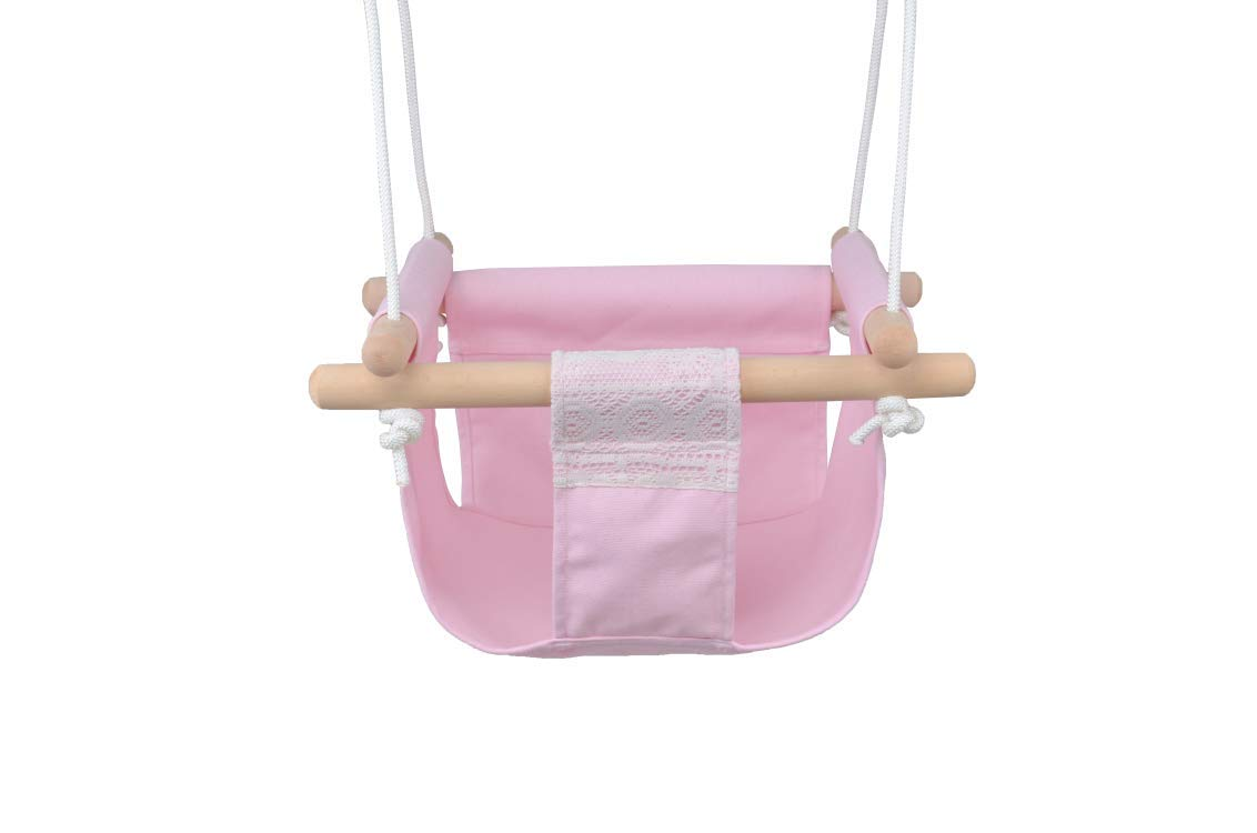 with Cushion Jozeit Baby Kids Toddler Canvas Swing Hanging Seat Chair Pink Lace Decor Indoor Outdoor Kids Room