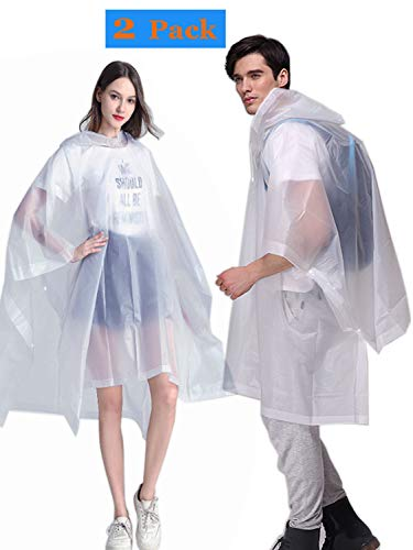 HLKZONE Rain Ponchos, [2 Pack] EVA Emergency Reusable Rain Coat Drawstring Hood Poncho, Size 53