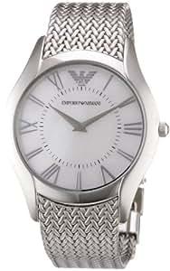 Emporio Armani AR2025 - Reloj analógico de cuarzo para mujer con correa de acero inoxidable, color plateado