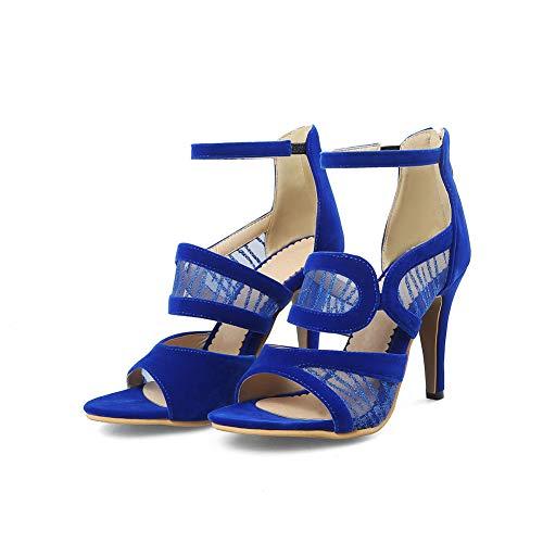 Zapatos Sandalias Tacón Blue Superficie Tobillo Rojo Alto Nupcial Cremallera Red Calado Fiesta De Damas Hlg Matorral Womens 56taxqtwF