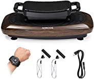 AOKCOS 2 Tiers Vibration Plate Exercise Machine - Whole Body Workout Fitness Platform with Loop Bands and Remo