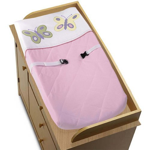 Pink and Purple Butterfly Collection Changing Pad Cover by Sweet Jojo Designs