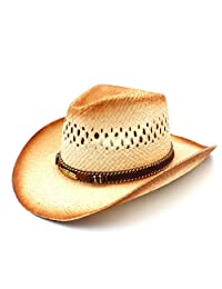 XSHYSMB Straw Beach Sun Mesh Cowgirl Sombrero Women Men Western Cowboy Hat with Punk Leaves Band Handemade Weave (Color : Natural, Size : 58cm)