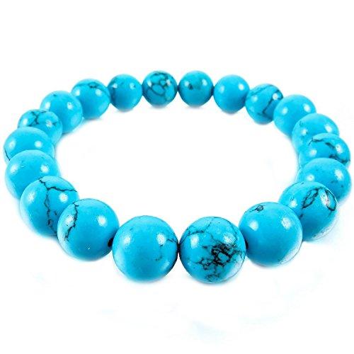 Joybeauty 8mm Healing Energy Gemstone Synthetic Turquoise Birthstone Bead Beaded Stretch Bracelets 7.5 Inch