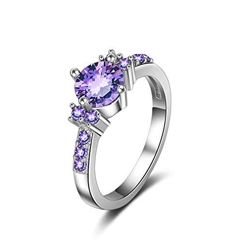 Myhouse Women Girls Purple Rhinestone Micro-Inlay Ring Charm Gift,8