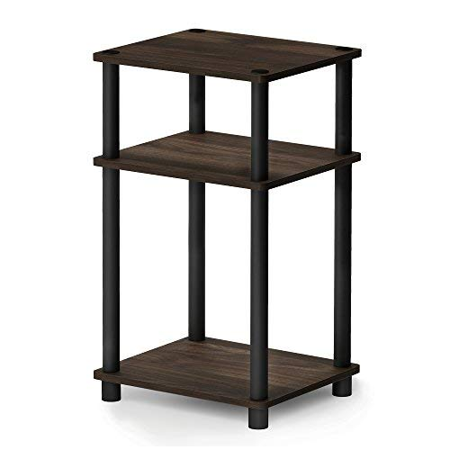 FURINNO 11087CWN/BK Just 3-Tier End Table, 1-Pack, Columbia Walnut/Black by Furinno
