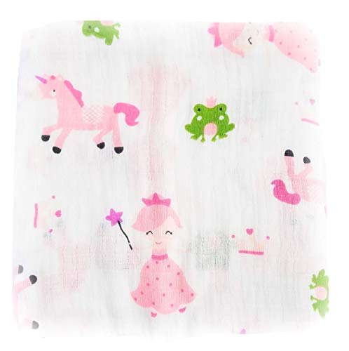 Swaddle Blanket Large Muslin 100% Cotton - Princess Frog Unicorn ()