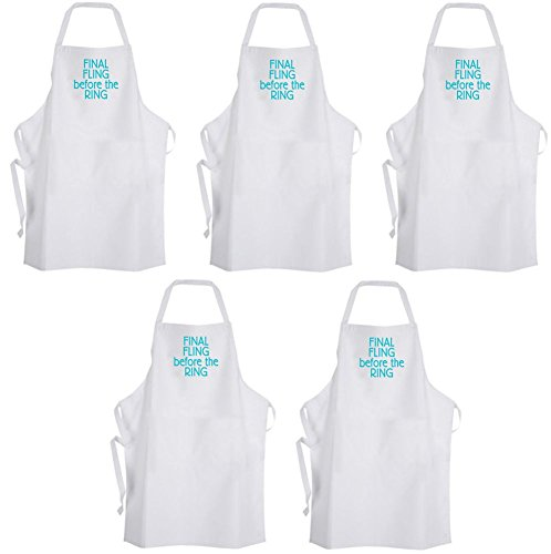 QTY 5 Final Fling before the RING Blue Turquoise Adult Size Aprons Wedding Party by Aprons365