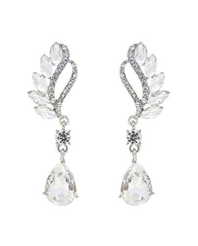 Women's Evening Gala Prom Bridal Wedding Pierced Earrings - Greek Goddess, Clear/Silver-Tone
